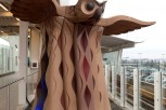 Carved and Painted Red Cedar, Copper Dome Eyes 11' x 11' x 9'  YVR Canada Line Station